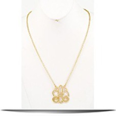 Glit Z Finery Gold Tone Monogram Pendant